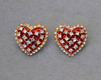 Rhinestone Red Heart Earrings Vintage