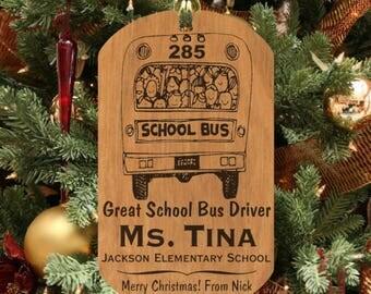 School BUS Driver Wood Keepsake Ornament Gift, Personalized FREE! Custom Made