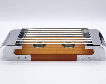 Vintage Food Warmer, Chrome and Wooden Food Warmer, Mid Century Kitchen