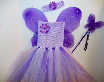 Lovely Lavender/Purple! LINED Fairy-Princess Costume, size 2-5!  with Wings, Headband, Magic Wand! Affordable and FUN!