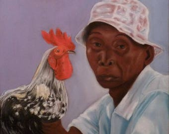The Caribbean and its Rooster painting Pastel wall Portrait