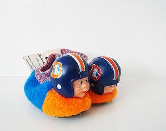 Rare Vintage 1978 Denver Broncos baby's Football Slippers Shoes Helmet NFL SOUVENIR Action Footwear Size 5-6