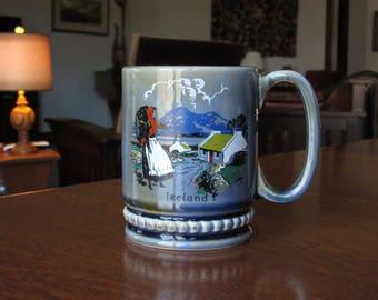 Vintage Wade Mug, Coffee Cup, Scene of Ireland, Woman with Basket, Shamrock, Celtic Pottery, Irish Porcelain, Collectible Series, Nostalgia