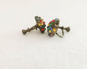 Antique  Round Multicolor Rhinestone Screw Back Silver Tone Earrings