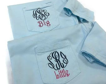 Monogram Big Little Sorority Shirts, Big Little Shirts, Big Little Reveal, Big Little Gift, Monogram Shirt, Comfort Colors, Sorority Shirts