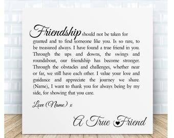 True Friend Friendship Poem Ceramic Plaque. Personalised Gift