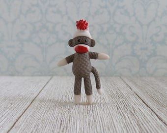 Sock Monkey - Toy - Stuffed Animal - Childhood - Lapel Pin
