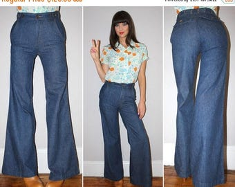 SALE Vintage 70s HIGH WAISTED Jeans / Sailor Pants / Raw Denim
