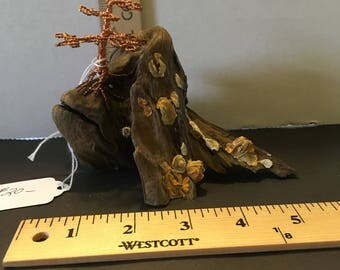 Copper Wire Bonsai tree mounted on driftwood with barnacles