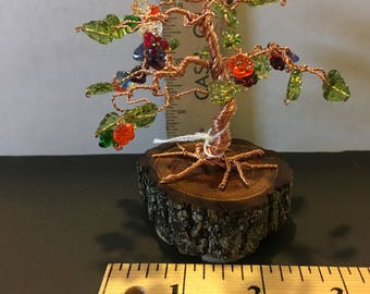 Copper wire BONSAI tree with glass beads