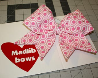 Pink patterned fabric bow!
