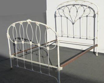 Antique Iron Bed French Country Cottage White Full HEADBOARD Farmhouse Chic