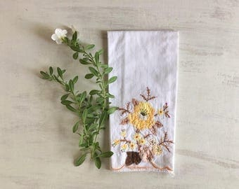 Old Fashioned Yellow Applique & Embroidered Guest Hand Towel