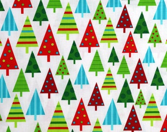 Christmas Fabric Jingle Christmas Tree Fabric White From Robert Kaufman 100% Cotton