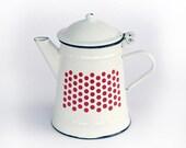 Vintage white enamel teapot, White Teapot, Retro kitchen decoration, Collectible teapot