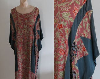 Vintage Japanese Kimono Fabric Handmade Kaftan Dress
