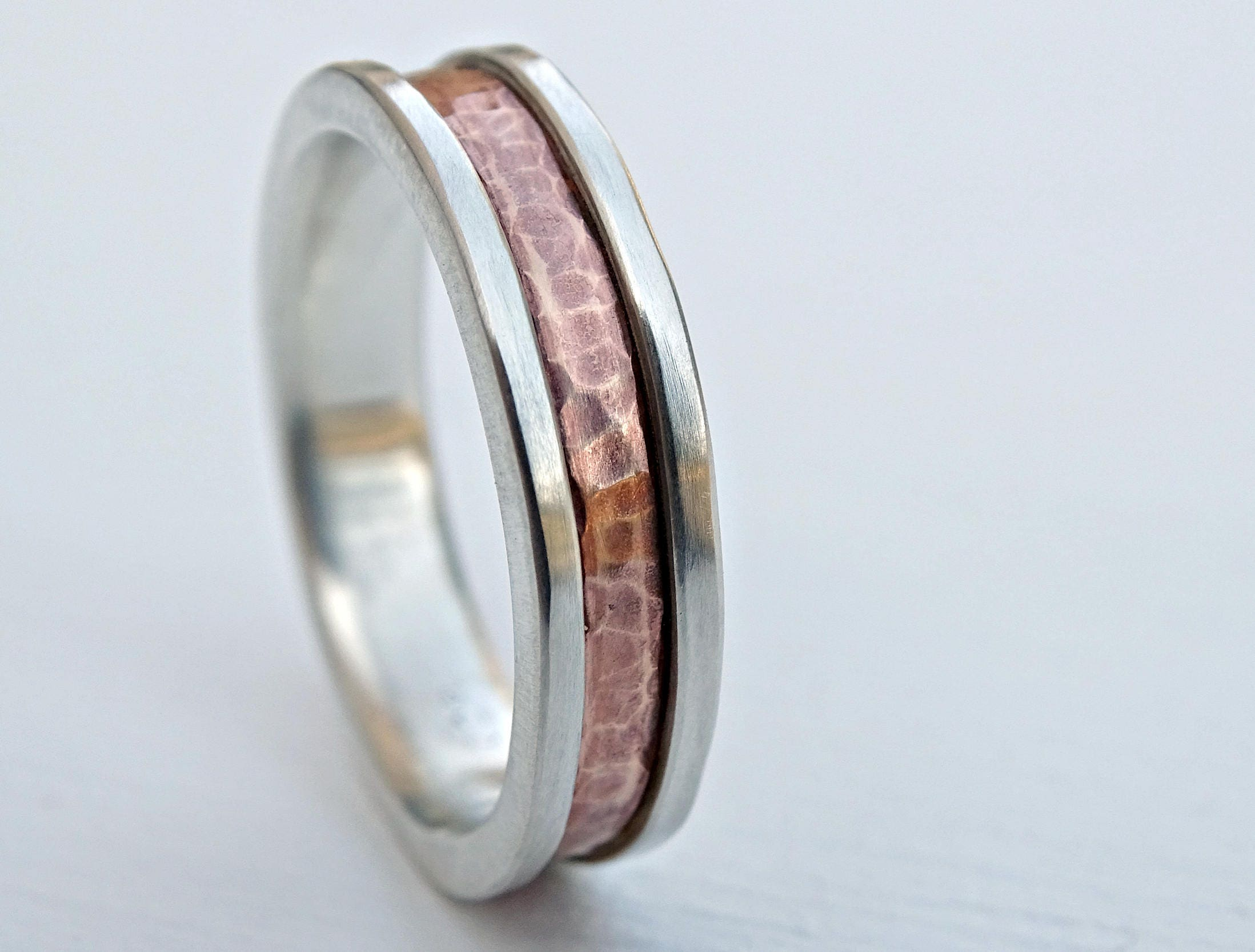 bold mens ring two tone mens engagement ring rustic unique
