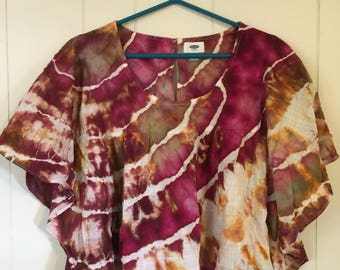 Old Navy Romantic Flowy Top. Tie dye ice dye up-cycled.   Large.