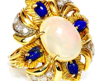 Vintage Opal Flower Ring with Lapis & Diamonds 18kt Yellow Gold 5.96ctw