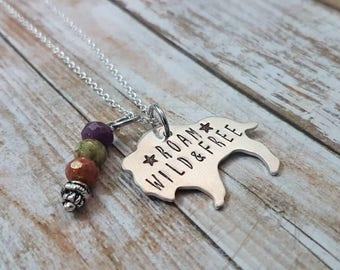 Roam wild and free hand stamped bison buffalo pendant necklace with earthy Czech glass beads