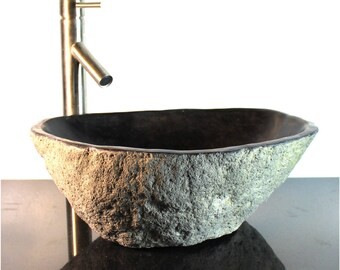 Riverstone Granite Boulder Vessel Sink Counter Top Bathroom Bar wbt11