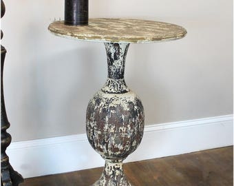 """French Country """"La Femme"""" Hand Painted Round Ball Chic Side Table -The Kings Bay"""