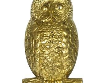 OWL Solid Brass Door Knocker Hoot