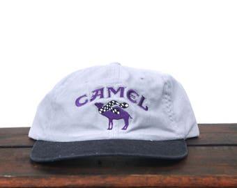 Vintage 90's Minimal Camel Cigarettes Racing Tobacco Unstructured Hat Strapback Baseball Cap