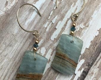 Blue Calcite Earrings, Genuine Blue Diamond Earrings, Gemstone Slice earrings, Gemstone slab earrings, gold earrings, earrings under 100