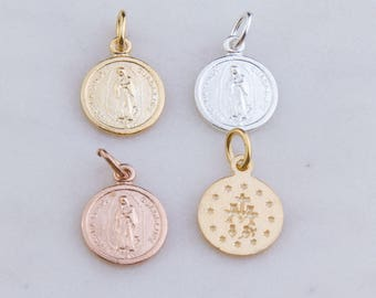 3Pcs-Our Lady of Guadalupe Round Pendant in Sterling Silver, Gold Plated OR Rose Gold Plated, Miraculous Medal Charm, Religion, Catholic CM1