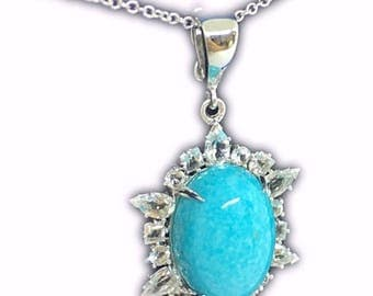 """Sweet and sassy! Turquoise and White Topaz Sterling Silver Pendant with 18"""" chain."""