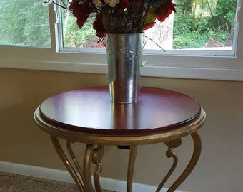 Vintage CENTURY Furniture Hollywood Regency Round Gold Gilt Center Table Console Red Top Iron French