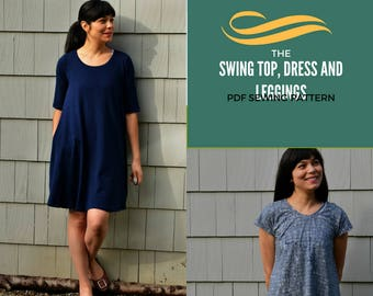 Swing Top, Tunic and Dress, plus leggings:  PDF Printable sewing pattern and tutorial.  Pattern available in sizes 4 to 22 with a PDF letter