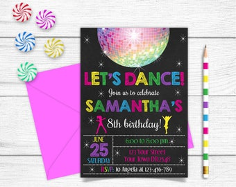 Any Age Printable Chalkboard Let's Dance Girls 7th 8th 9th 10th Birthday Invitation Pink Yellow Invitation Green Disco Ball Party Invitation