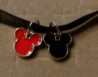 Red and black Enamel Minnie and Mickey Charms.1