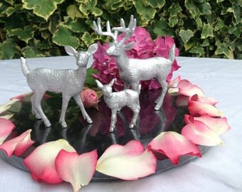 Deer stag doe and fawn table number holders cake topper in silver