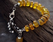 raw amber with oxidised sterling silver • chain bracelet  • oxidised silver  • inspirational  gift for women yellow Baltic amber