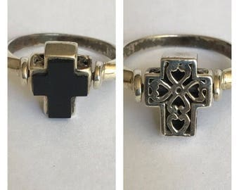 Flip Onyx Sterling Cross Ring Sz 6.5 Reversible Spinner 925 Silver Filigree Vintage Jewelry Birthday Christmas Gift Christian Religious Boho