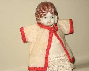 Frozen Charlotte vintage flapper bisque doll with handmade clothes