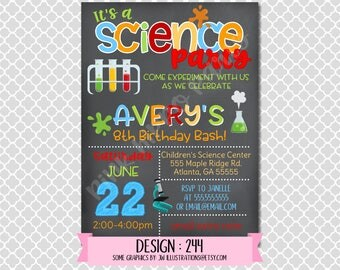 Science Experiment Chemistry Scientist Boy Girl:Design #244-Children's Birthday Invitation, Personalized, Digital, Printable, 4x6 or 5x7 JPG