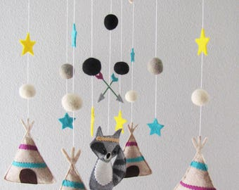 Trible, Racoon Crib Mobile Nursery, Baby, Toddler Mobile, Teppee Nursery Decor, Mobile