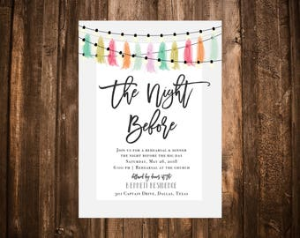 The Night Before Rehearsal Invitation; Casual; Colorful; Tassel Garland; Lights; Printable OR set of 25