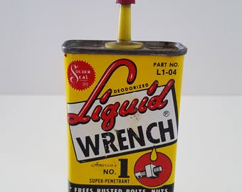 Vintage early 1960's Liquid Wrench partial contents present. Great graphics and color, no UPC dates to early 60's