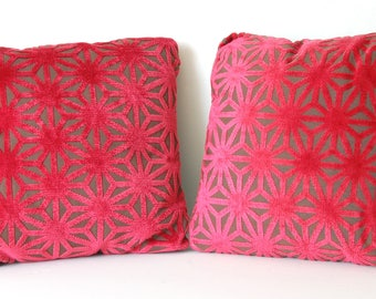 Small Pillows Red Velvet and Silk