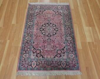 Persian Rug 2' 8 x 4' 5 Pink Tabriz