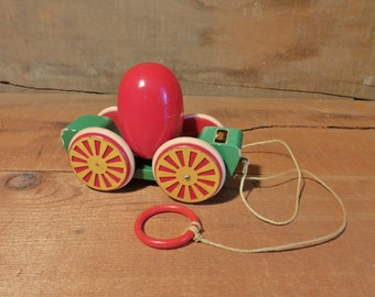 Vintage BRIO Wooden Egg Carriage Wagon Toy Car Made in Sweden