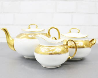 Vintage Gold Tea Set, Hutschenreuther Bavaria China, Teapot Set, Creamer And Sugar Bowl, Bavarian China, Fine Bone China Set, Gold Teapot