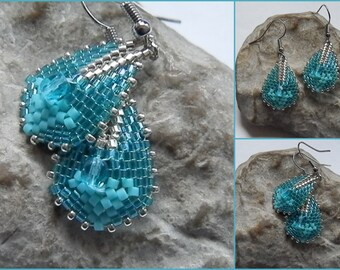 Woven earrings turquoise and silver