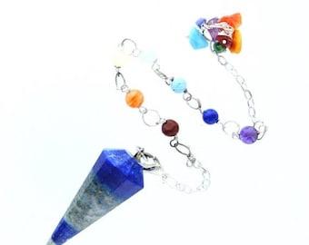 ON SALE Lapis pendulum with Chakra Chain