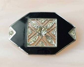 Quality, 'Art Deco' Designed, Silver Rhodium Plated & Onyx Pin